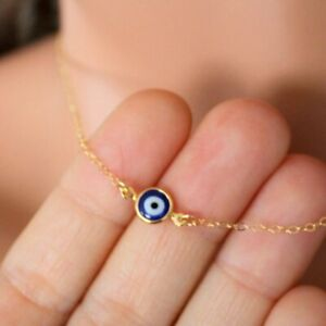 Gold-Silver-Plated-Lucky-Blue-Evil-Eye-Hamsa-Turkish-Charm-Pendant-Necklace-Gift