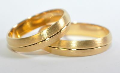 1 Paar Trauringe - Silber 925 Vergoldet 5µ - Top Qualität - Breite 5mm - Top
