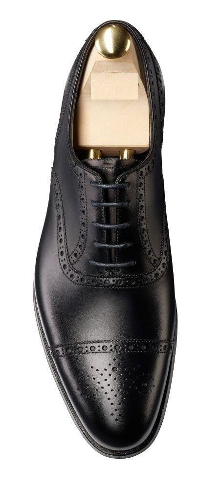 Hombres Nuevo Hecho a Mano Original Cuero Oxford Negro Zapatos Brogue Con Tapa De formal