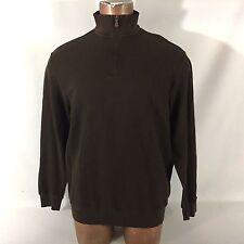Men's POLO GOLF Ralph Lauren pullover 1/2 Zip long sleeve Shirt size LARGE Brown