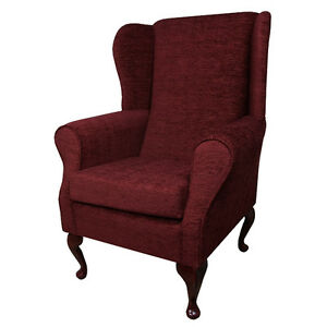 High Back Armchair Red Fabric Wing Chair Seat Queen Anne ...