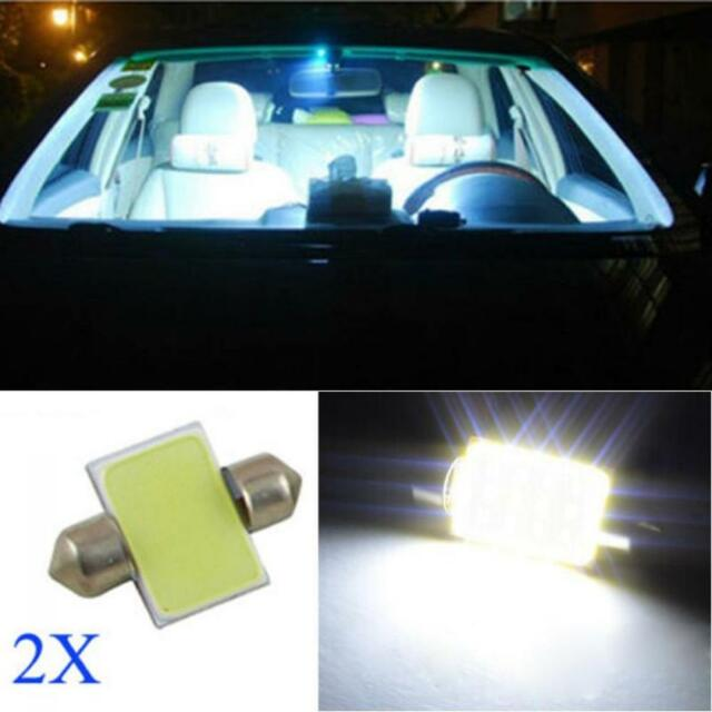 2pcs Festoon Dome Lamp Car Interior Map Light 31mm 3175 COB LED White DC 12V