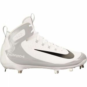 758ef4c43fa1 Mens Nike Alpha Huarache Elite Mid Baseball Cleats White 923428-100 ...