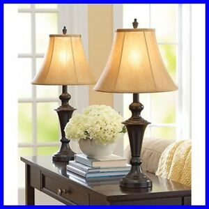 Traditional table lamp set of 2 metal base fabric shade living room home decor ebay Home decorators lamp shades
