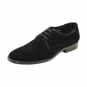 CRC-Napa-Calfskin-Suede-Leather-Shoes-Men-039-s-Plain-Toe-Oxford-Lace-Up-Shoes-Black