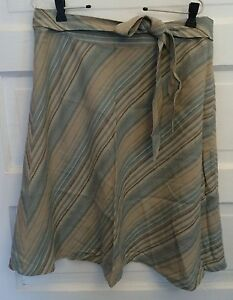 Merona Linen Skirt 10 Tan Brown Blue Diagonal Striped Aline Gold Glittery Accent
