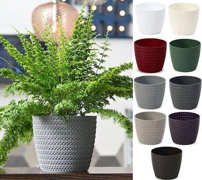 Plant Pot Cover Indoor Plastic Rattan Flowerpot Cover Round Modern Decor Planter Ebay