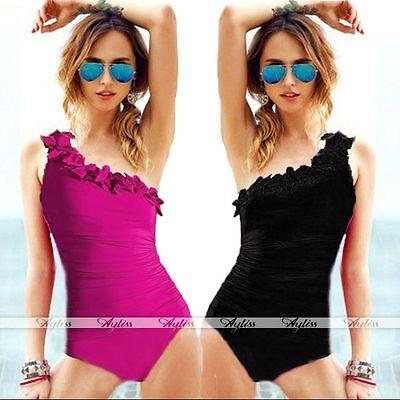 Fashion Women Girls Ruffle One Shoulder One Piece Swimsuit Bathing Suits