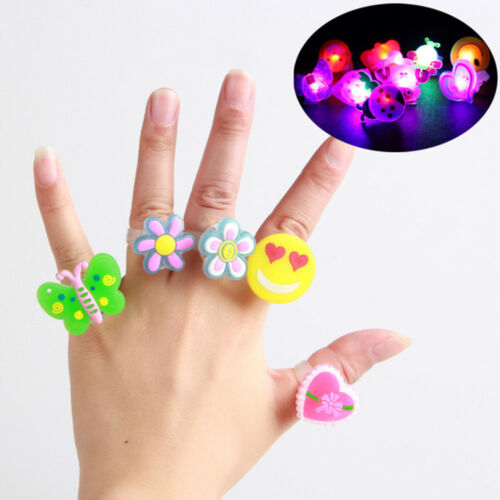 Funny LED Flashing Finger Lights Party Glow Ring Light Up Favors Toys Kids Gift
