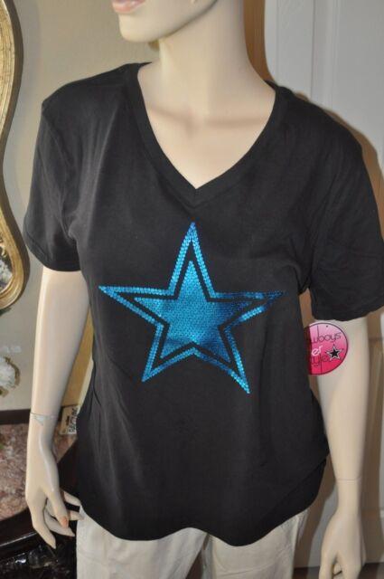 Dallas cowboys Women s short sleeve v neck glitter Star design t shirt XL  NWT 7f7f2be89