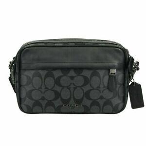 NWT-Coach-Signature-Canvas-Graham-Crossbody-Handbag-Charcoal-Black-F50715
