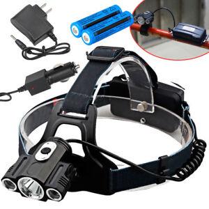 35000LM-Bike-Front-light-T6-Led-Power-Headlamp-headlight-18650-Battery-Charger