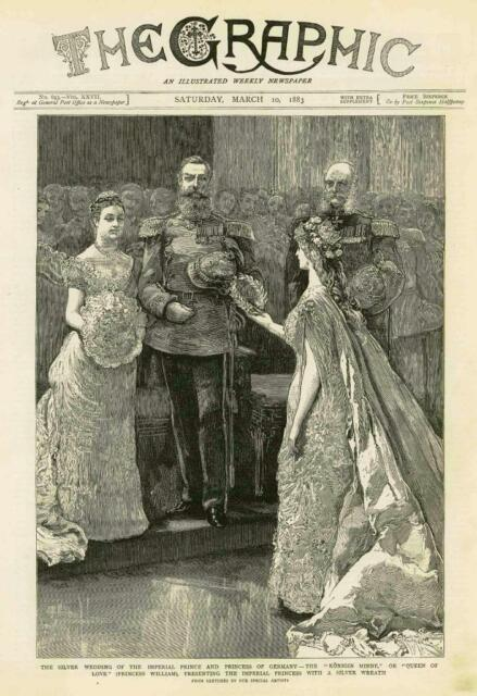 1883 - Antique Print GERMANY Imperial Prince Princess Konigin Minne Silver (085)