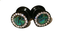Pair Ear Plugs 0 Or 00 Gauge Clear Crystal Ring With Abalone Shells Usa