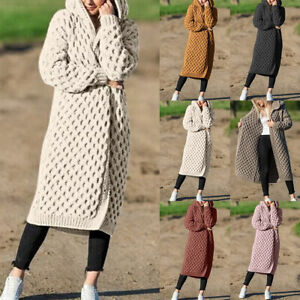 Fashion-Women-039-s-Hooded-Thick-Knitted-Sweater-Cardigan-Coat-Long-Sleeve-Outwear