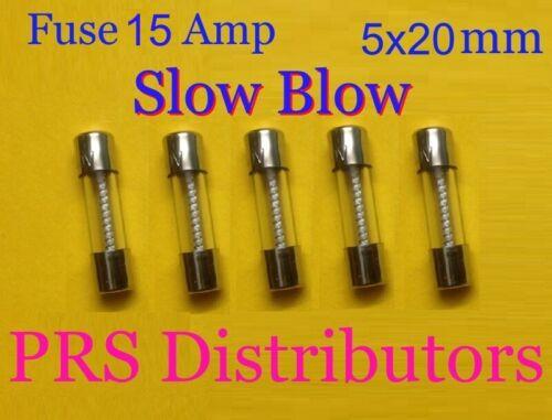 Fuse 15A 250V 5X20mm SLOW BLOW Glass Fuse 15 Amp 250 Volt 5 pieces USA SELLER