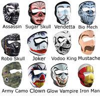 Neoprene Ski Mask - Full Face Reversible Snowboard Bikers Masks Skull Clown More