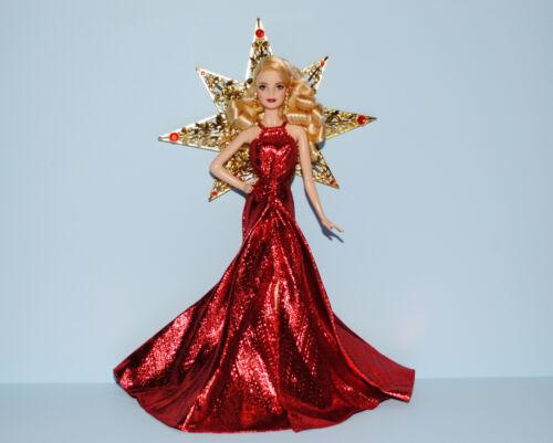Metallic Red Holiday Gown Dress w// Font Split Gold Star /& Heels Genuine BARBIE
