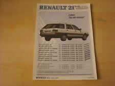 50598) Renault R21 Nevada Preise & Extras Prospekt 07/1987