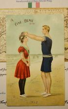 1903 ANTIQUE NEWFOUNDLAND POST CARD STAMP - BEAUTIFUL BEACH ILLUSTRATION COUPLE
