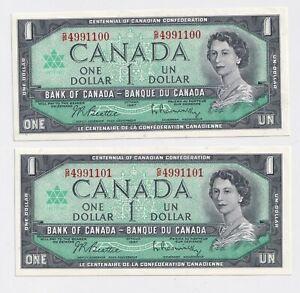 2-X-Sequential-1967-1-Bank-of-Canada-Centennial-Series-AU-UNC