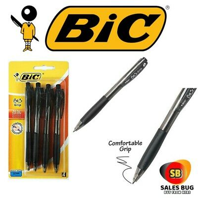 Bic Bu3 Pens Grip Black Ink Biro Retractable Medium Comfort Ballpoint x 4