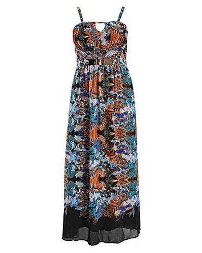 Ladies New Beautiful Summer Rose Print Plus Size 16//26 Full Skirt Swing Dress