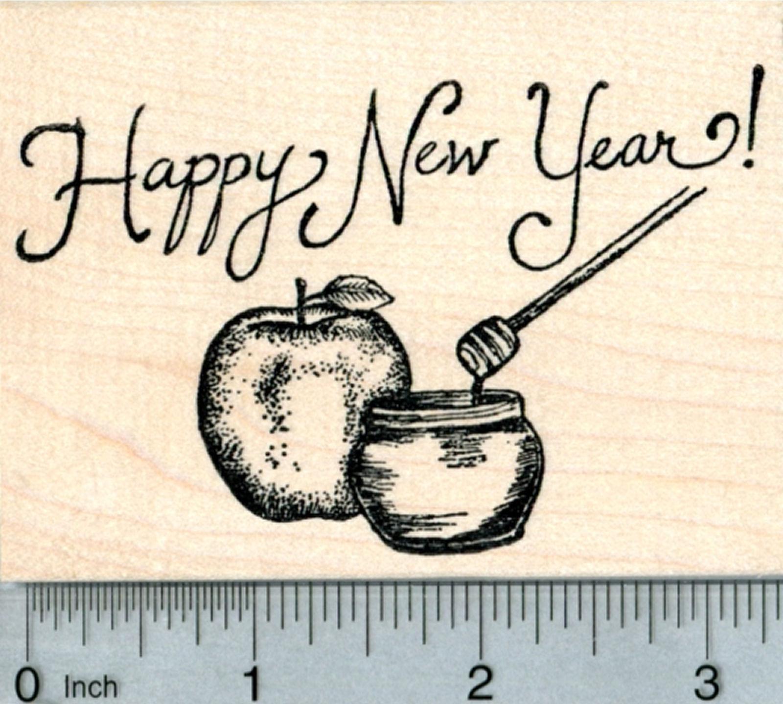 Rosh Hashanah Rubber Stamp Apple With Honey L32510 Wm Ebay
