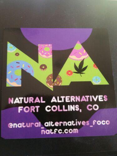 """3/"""" Dispensary Sticker /""""Natural Alternatives/"""" Doughnut Colorado 420 Dispensary"""