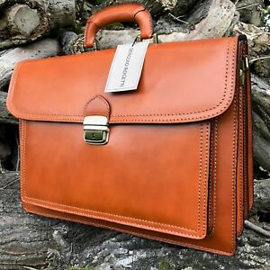 e078c2287 Image is loading HANDMADE-IN-ITALY-DESIGNER-TAN-LEATHER-BRIEFCASE-LAPTOP-