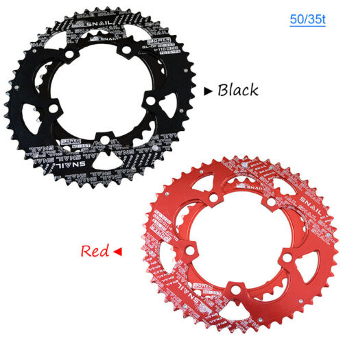 SNAIL 110BCD 50//35T Double Oval Chainring Road Folding Bike Chainwheel Bolts CNC