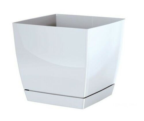 WHITE Coubi Square Flower Plant Pot with removable tray 13,5cm Decor Drainage