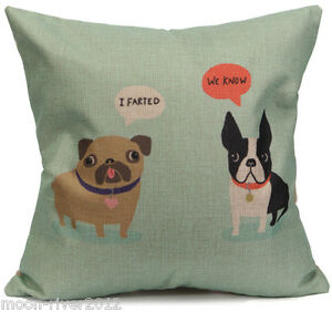 BOSTON-TERRIER-DOG-amp-Farting-PUG-Pale-Green-LINEN-COTTON-CUSHION-COVER-UK-Sale