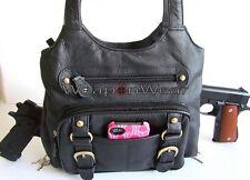 Concealment Purse Black Locking Concealed Carry CCW Holster Gun Handbag Bag #23