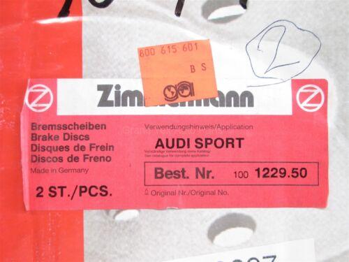 NEW Zimmermann Drilled Rear Sport Disc Brake Rotors 100122950 Audi A4 1996-2000