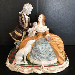 Meissen-Style-Porcelain-Courting-Statue-16-034-x-14-034-huge-Reproduction-Exquisite