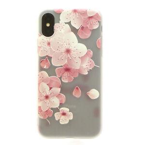 Custodia-cover-flessibile-per-iPhone-X-10-5-8-034-semi-trasparente-FIORI-DI-PESCO