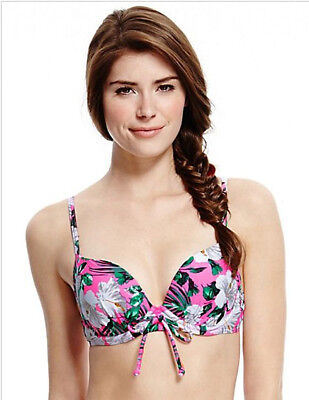 Ex M/&S Bikini Top Pink Floral Print Underwired Moulded Size 38DD