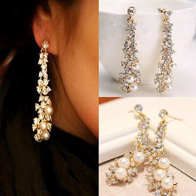 Fashion Womens Pearl Rhinestone Crystal Drop Dangle Chandelier Earrings Jewelry