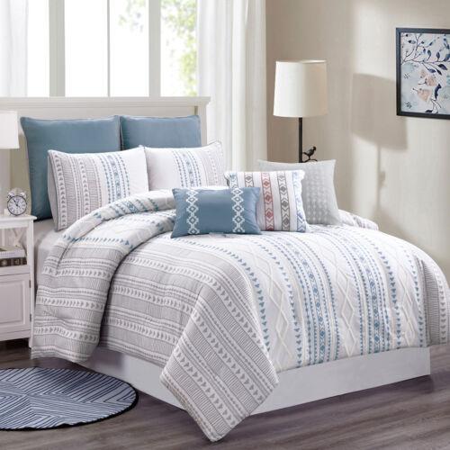 Tribeca 8-Piece Geometric Stripe Chenille Textured Embroidered Comforter Set