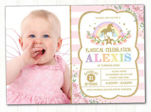 Unicorn Invitation Rainbow First Birthday Party Invite Pink Gold