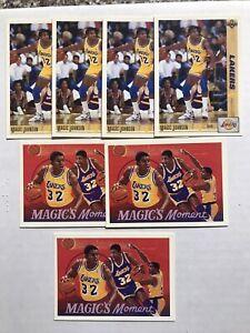 1991-92-Upper-Deck-Magic-Johnson-7-Card-Lot-4-Base-45-3-Magic-Moments-Lakers