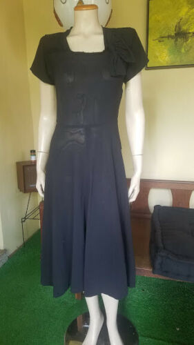 Four Star Fashions Vtg 40s Black Rayon Crepe Bow S