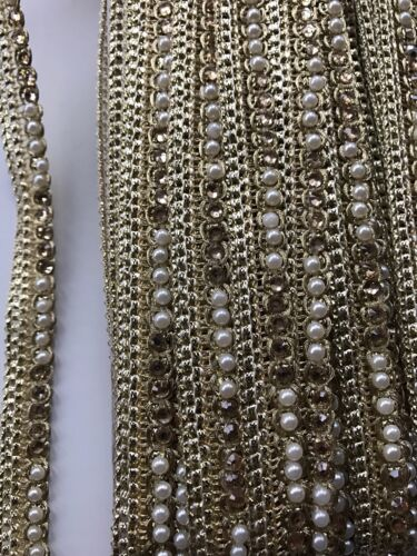 NINE METRES ATTRACTIVE INDIAN FABRIC GOLD CRYSTAL AND PEARLS RIBBON LACE TRIM