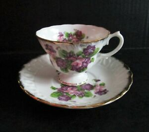 Fine China Teacup & Saucer N3115 Floral Purple Pink Flowers With Gold Trim