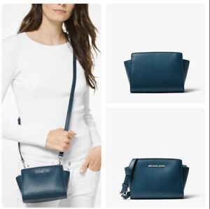 most popular newest selection fashion style of 2019 Details about NWT Michael Kors SELMA Mini Saffiano Leather Crossbody Bag  Luxe/Teal