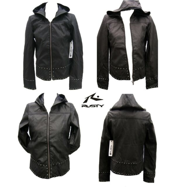 New Rusty Black Hoodie Transit Jacket Top Size 12 Leather Like Ladies Coat $180