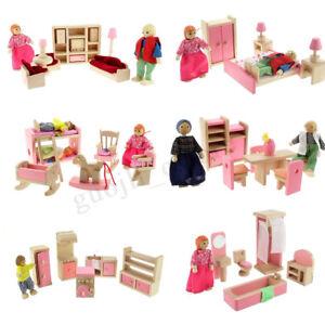 Xmas-Gift-Wooden-Doll-House-Miniature-Family-Children-Furniture-Set-Kit-Toys