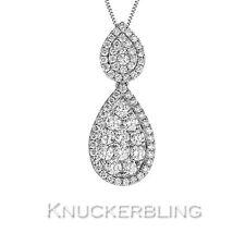 Genuine Diamond Pendant 0.95ct F VS 18ct White Gold Pear Shape with Chain