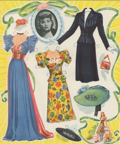 VINTGE UNCUT 1943 ANN SOTHERN PAPER DOLLS LASER ORG SZ REPRODUCTION~LO PR FREESH